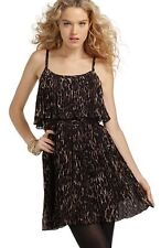 NWT Authentic Guess Phoenix Pleated Tiered Dress Leopard  Print or Black 3 5 7 9