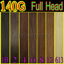 """Full Head  Remy clip in human hair extensions140g &15""""/18""""/20"""" ~Free Shipping"""