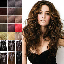 "7PCS 60g 100% human hair clip-on in extensions 16"" 20"" 24"" on sale Cheap !!!"