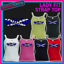 LADIES WOMENS LADY FIT STRAP TOP TSHIRT SCOTLAND 6 NATIONS RUGBY