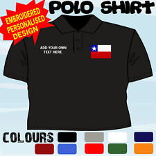 PERSONALISED CHILE   FLAG EMBLEM T POLO SHIRT EMBROIDERED