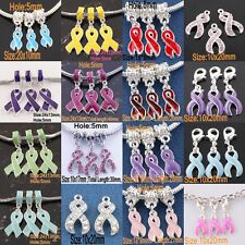 18 Type Breast Cancer Awareness Enamel Crystal Ribbon Dangle Pendant Beads Charm