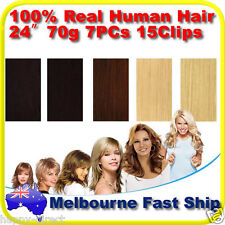 "Clip in REMY Real Human Hair Extensions 24"" 70g Full Head on Black Brown Blonde"