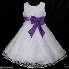 Light,Deep Purple White w942 Bridesmaid Wedding Party Flower Girls Dress 2,3-12y