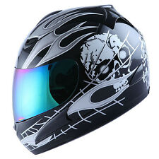NEW MOTORCYCLE FULL FACE HELMET WHITE SKULL BLACK + BONUS: ONE EXTRA CLEAR VISOR