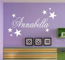 PERSONALISED name with stars - WALL STICKER ART   Kids bedroom gift cool - N26