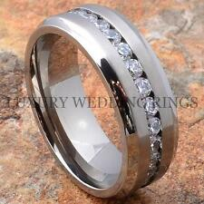 Titanium Wedding Band Engagement Diamond Ring Bridal Jewelry Size 6-13
