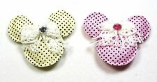 4 Padded Polka Dots Mickey Minnie Mouse Appliques w/ Lace bow & Rhinestone 1.75""