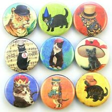 cute cat hats kitty funny humor vtg pet fridge magnet pin badge button cab charm
