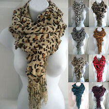New women winter warm knit crochet leopard print ruffle long scarf wrap shawl