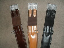 LOW PRICE! QUALITY PADDED SHAPED ELASTICATED ANTI CHAFE LEATHER GIRTH 3 COLOURS