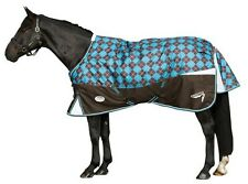 NEW! WeatherBeeta 600D Freestyle Std Neck Med Wt. Turnout Chocolate/Ocean Argyle