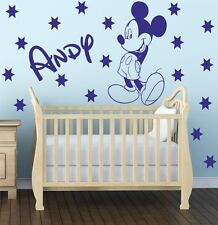 MICKEY MOUSE - Wall art sticker with stars and personalised name - kids bed K12