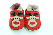 NEW SOFT LEATHER BABY SHOES 0-6 ,6-12, 12-18, 18-24mths CHRISTMAS RUDOLPH