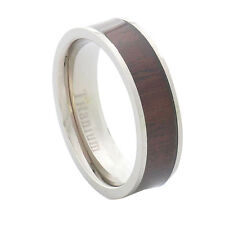 6mm Rosewood Inlay Titanium Band Ring Sparkle-Jewelry Alloy/Metal No Stone