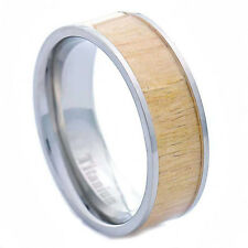 8mm African Poplar Garnett Wood Eternity Inlay Titanium Band Men's Wedding Ring