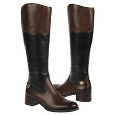 Etienne AIGNER CHIP ICONIC BLACK BROWN OXFORD LOGO ZIPPER TALL RIDING BOOTS