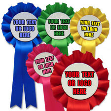 50 Personalised Rosettes, Printed with your Text and Logo Cheap Printed Rosettes