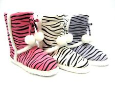 SLIPPER BOOTS WITH TASSELS ~ PURPLE or PINK or WHITE ZEBRA STRIPE ~