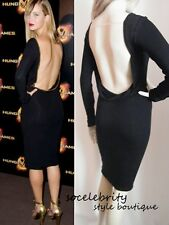 GORGEOUS BLACK BACKLESS OPEN BACK COUTURE MIDI KNEE LENGTH DRESS SIZE 6 8 10 12