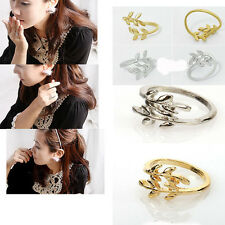 Fashion 1pc Lady Simple Exquisite Alloy Double Leaf Charm Open Rings U PICK