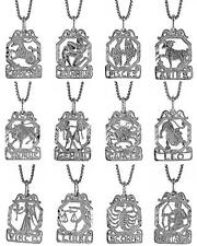 "Sterling Silver ZODIAC Sign Charm Pendant w/ 18"" Italian Box Chain"