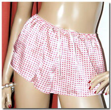 SILKY WET LOOK SATIN GLOSSY FRENCH KNICKERS PANTIES PEACHY PINK LOVE HEARTS BOWS