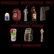 Zombie Survival Kit Left 4 Dead Gamer Geek Graphic Tee Shirt Short Sleeve