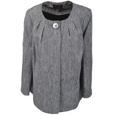 Ann Harvey Designer Taylored Linen Swing Jacket Grey Dress Coat Large Plus Sizes