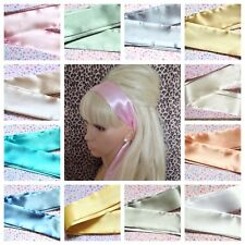 PALE SHADE SATIN SELF TIE BOW HAIR SCARF HEAD BAND 50s 40s RETRO VINTAGE STYLE