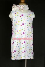 White Rainbow Polka Dots Girl Tutu ONE PIECE Party Dress Skirt Tutu 2PC Set 2-6Y