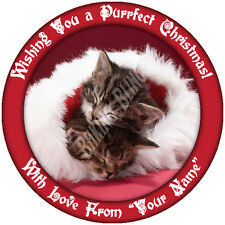 Christmas Cute Sleeping Kittens Personalised Icing Cake and Cupcake Toppers Xmas
