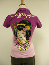Ed Hardy Women Polo Shirt Geisha Kiss Of Death Regular Price $130.00 Sizes XS-MD