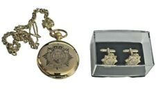 RLC CREST ENGRAVED POCKET WATCH & CUFF LINK SET, GOLD OR SILVER