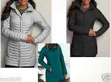 NWT Eddie Bauer Womens MicroTherm Down Parka 700FP Ocean/Light Steel Retail $249