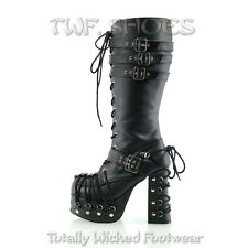 Charade 206 Goth Punk Lolita Corset Lace Up Knee Boot Buckle Lace Platform Boots