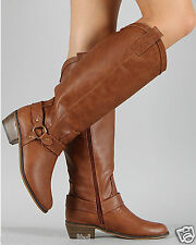 TAN Women's Cowboy Round Toe Riding Knee High Boot Size 5.5 to 11