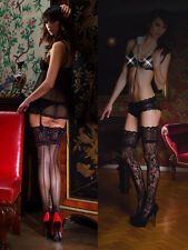 New Luxury Vixen Black Hold Up Stockings ~ Lace ~ Womens Hosiery