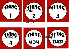 DR SEUSS THING 1 2 3 4 MOM & Dad IRON ON T-SHIRT TRANSFERS (DARK)