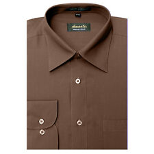 New Amanti Mens Solid  Brown Chocolate Formal Dress Shirt