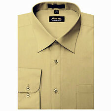New Amanti Mens Tan Solid Wedding Formal Dress Shirt
