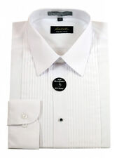 New Amanti Mens Solid Tuxedo Lay Down Dress Shirt  White