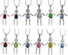 "Sterling Silver Birthstone Baby Boy Pendant Charm w/ Colored CZ & 18"" BALL CHAIN"