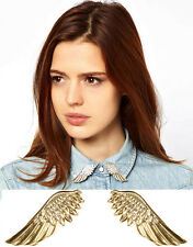 ONE PAIR NEW GOLD / SILVER ANGEL WING STUD COLLAR TIPS BROOCH BOHO GOTHIC PUNK
