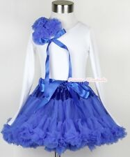 Royal Blue Full Pettiskirt Dress with Bunch Blue Rosettes Long Sleeve Top 1-8Y