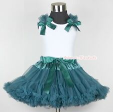 Teal Green Pettiskirt Skirt & White Pettitop Top in Teal Green Bows Ruffle 1-8Y