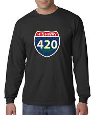 Highway 420 Weed Marijuana Smoking Bong Long Sleeve Tee Shirt