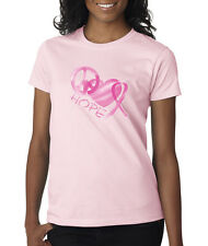 Hope Peace Love Breast Cancer Awareness Pink Ribbon Cause Ladies T-Shirt