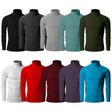 mens cotton turtle neck polo turtleneck sweater stretch jumper S M L XL XXL