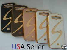 S Style Luxury Leather Chrome Hard Case Cover for Samsung Galaxy S3  SIII !USA!